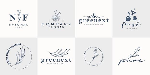 Collection De Logos Floraux Minimalistes Pour Les Magasins De Fleurs Et Les Entreprises Vecteur Premium