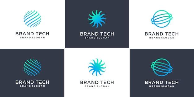 Collection de logos de globe avec le concept de technologie moderne vecteur premium