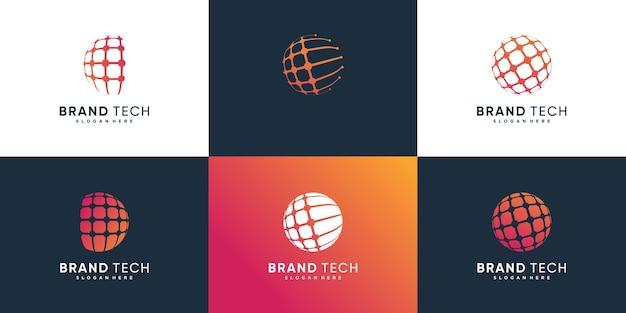 Collection de logos de globe avec concept technologique vecteur premium partie 1