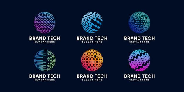 Collection de logos de globe avec concept technologique vecteur premium partie 2