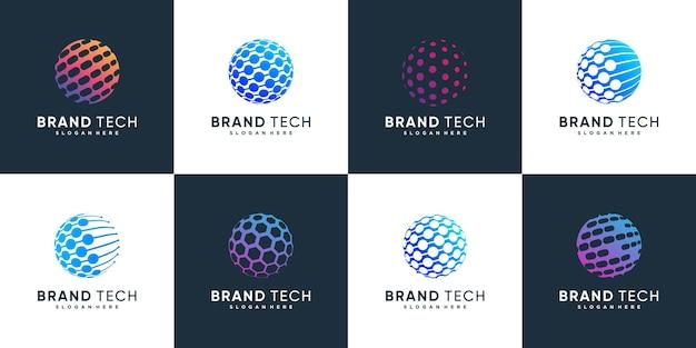 Collection de logos de globe avec concept technologique vecteur premium partie 3
