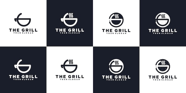 Collection de logos de gril minimaliste, référence de logo