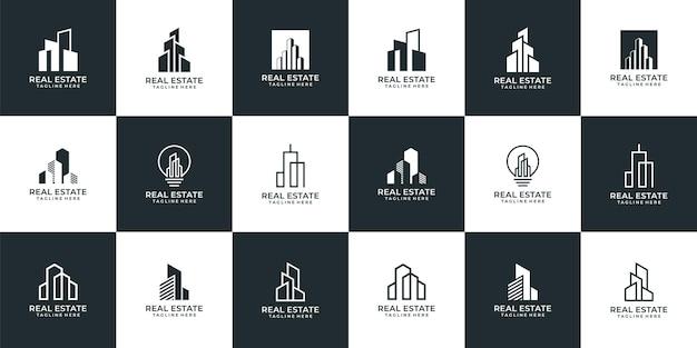 Collection de logos immobiliers de bâtiment d'architecture créative