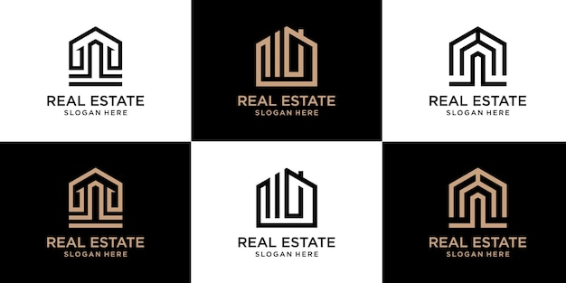Collection de logos immobiliers minimalistes