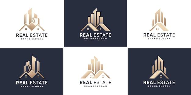 Collection de logos immobiliers avec un style créatif doré vecteur premium