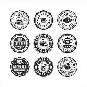 Collection de logos d'insigne de thé de timbre