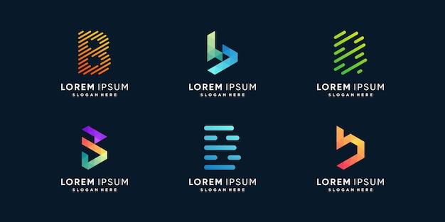 Collection de logos de lettre b avec un style moderne vecteur premium