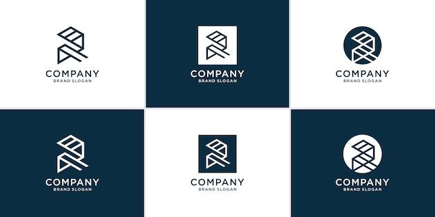 Collection de logos de lettre r avec un style moderne et créatif vecteur premium