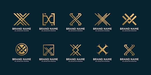 Collection de logos lettre x avec concept d'art au trait doré vecteur premium
