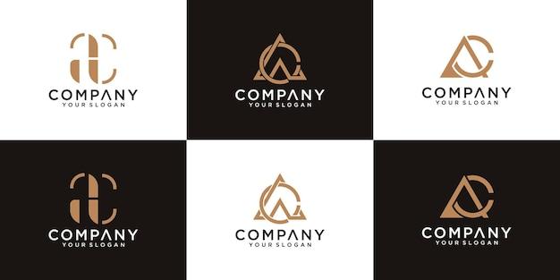 Collection de logos de lettres ac avec styles de ligne et couleur dorée pour le conseil, les initiales, les sociétés financières