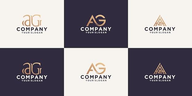 Collection de logos de lettres ag avec styles de ligne et couleur dorée pour le conseil, les initiales, les finances