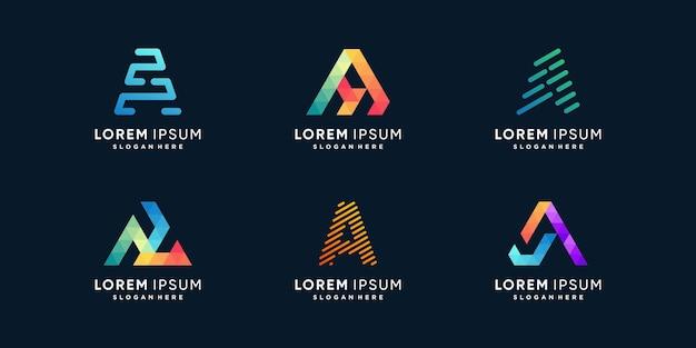 Collection de logos de lettres créatives avec l'initiale a vecteur premium