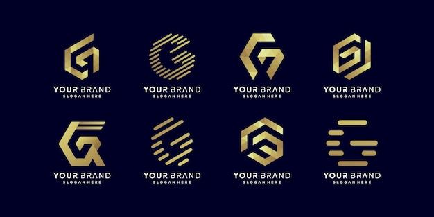 Collection de logos en lettres dorées g vecteur premium