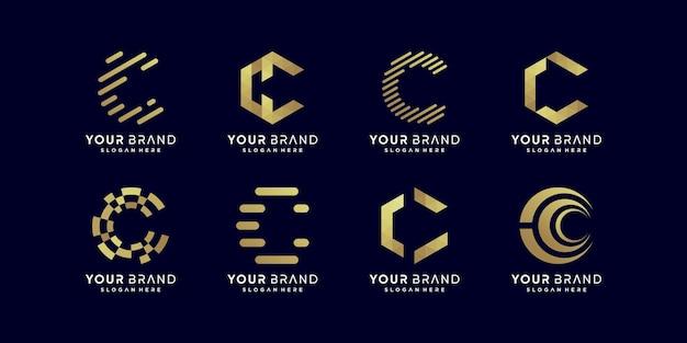 Collection de logos de lettres dorées c vecteur premium