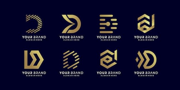 Collection de logos en lettres dorées d vecteur premium