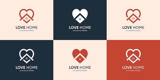 Collection de logos de maison avec concept d'amour créatif vecteur premium