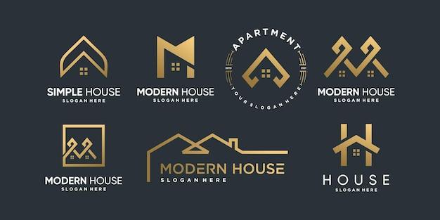 Collection de logos de maison avec différents styles d'éléments créatifs vecteur premium