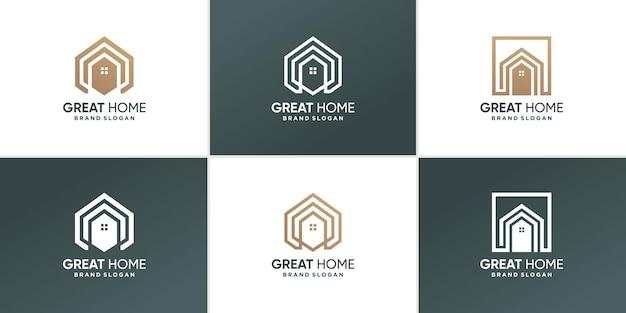 Collection de logos de maison avec un style d'art de ligne de géométrie moderne vecteur premium