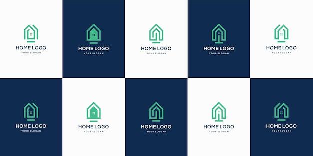 Collection De Logos à La Maison Vecteur Premium