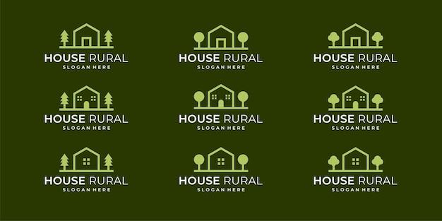 Collection de logos de maisons de campagne avec des modèles plats et abstraits.