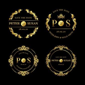 Collection de logos de mariage élégants