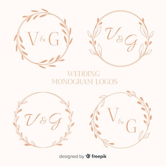 Collection de logos de mariage monogramme