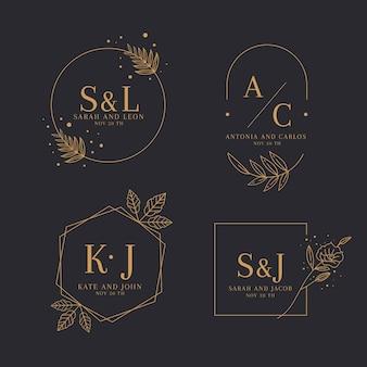 Collection de logos de mariage plat linéaire