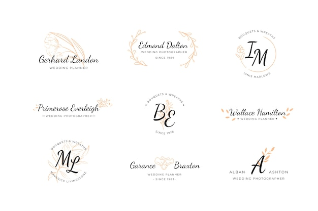 Collection de logos de mariage