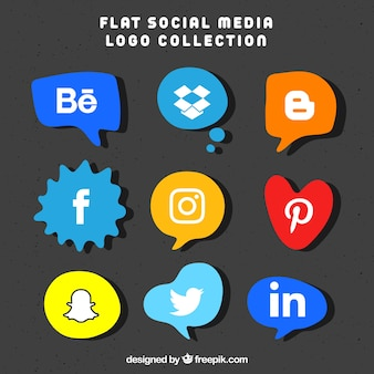 Collection de logos de médias sociaux dans un style plat