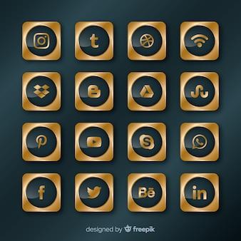Collection de logos de médias sociaux de luxe