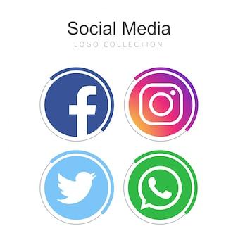 Collection de logos de médias sociaux populaires