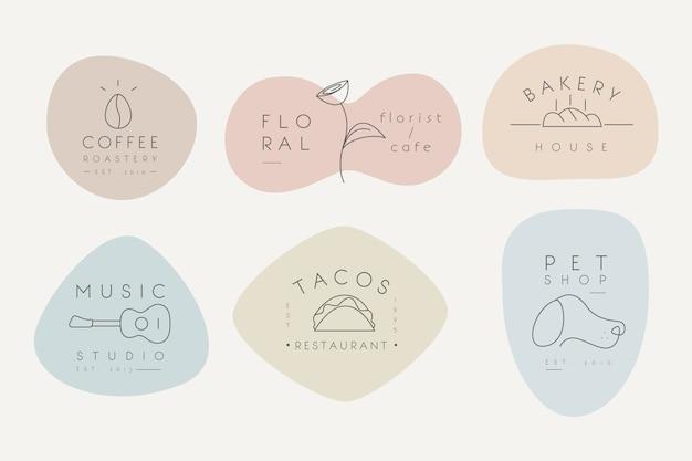 Collection de logos minimale avec des couleurs pastel