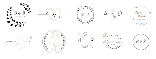 Collection de logos de monogramme de mariage, modèles minimalistes et floraux modernes dessinés à la main pour les cartes d'invitation, save the date, identité élégante pour restaurant, boutique, café en image vectorielle
