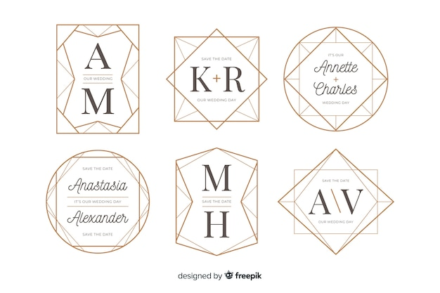 Collection de logos de monogramme de mariage