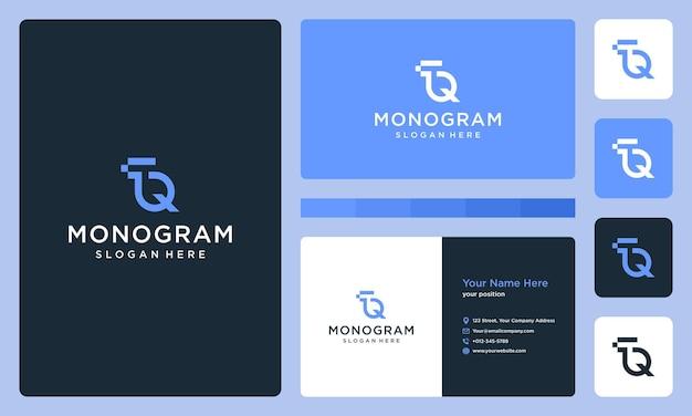 Collection de logos monogramme tq initiales lettre. conception de carte de visite