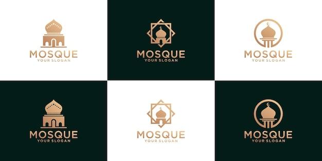 Collection de logos de mosquée, modèle de religion islamique