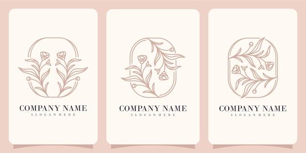 Collection de logos nature fleur rose