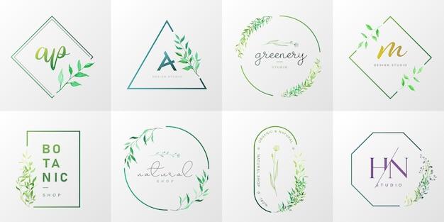 Collection de logos naturels et biologiques pour la marque, l'identité d'entreprise, l'emballage et la carte de visite.