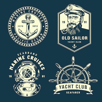 Collection de logos nautiques vintage