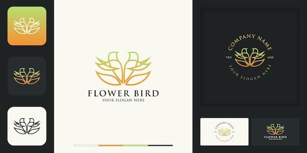 Collection de logos d'oiseaux de fleurs et conception de cartes de visite