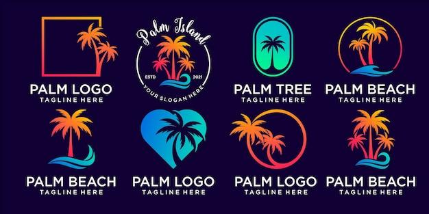 Collection de logos palm avec vecteur premium de concept d'élément créatif vecteur premium