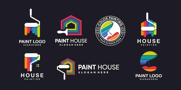 Collection de logos de peinture avec un concept abstrait créatif moderne vecteur premium