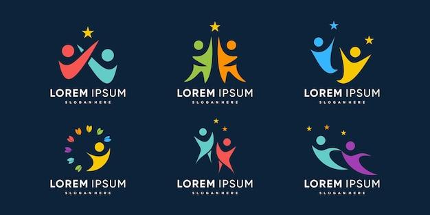 Collection de logos de personnes avec atteindre le concept de rêve vecteur premium