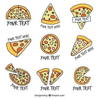 Collection de logos à pizza tirés à la main