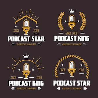 Collection de logos de podcast vintage