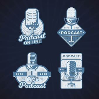 Collection de logos de podcast vintage