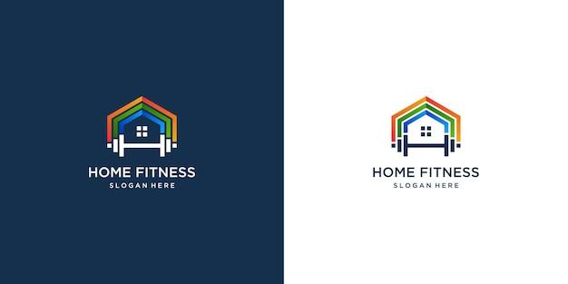 Collection de logos pour la maison de remise en forme avec un design de couleur dégradé