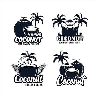 Collection de logos premium de conception de noix de coco