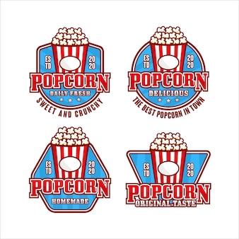 Collection De Logos Premium De Conception De Pop-corn Vecteur Premium