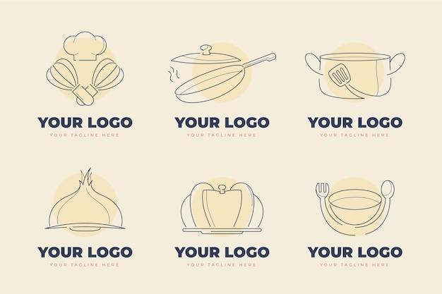 Collection de logos de restauration plats linéaires